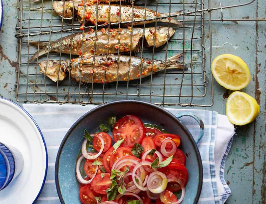 barbecued piri piri sardines