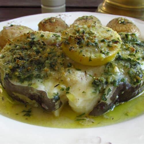 conger eel steak with potatoes