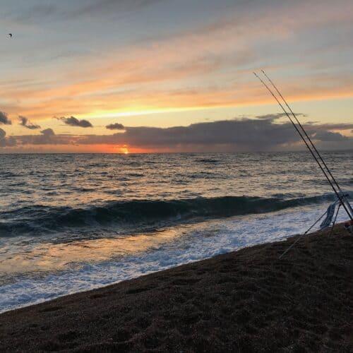 fishing chesilbeach sunset