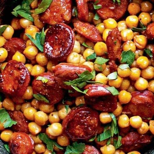 sherry glazed chorizo with chickpeas